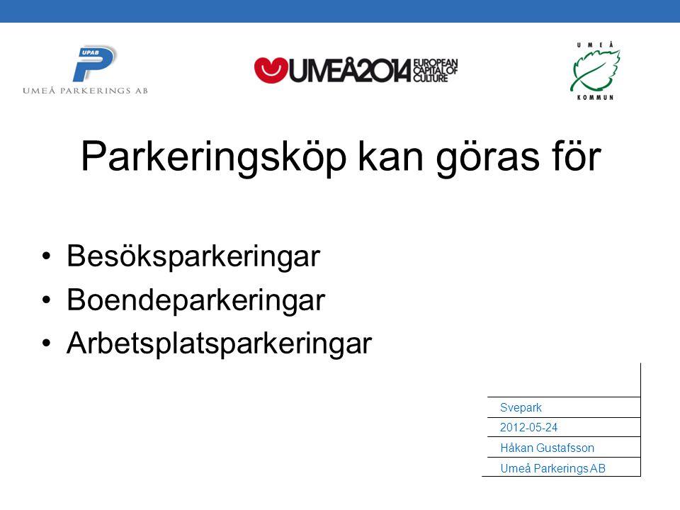 Svepark 2012-05-24 Håkan Gustafsson Umeå Parkerings AB Besöksparkeringar Boendeparkeringar Arbetsplatsparkeringar Parkeringsköp kan göras för