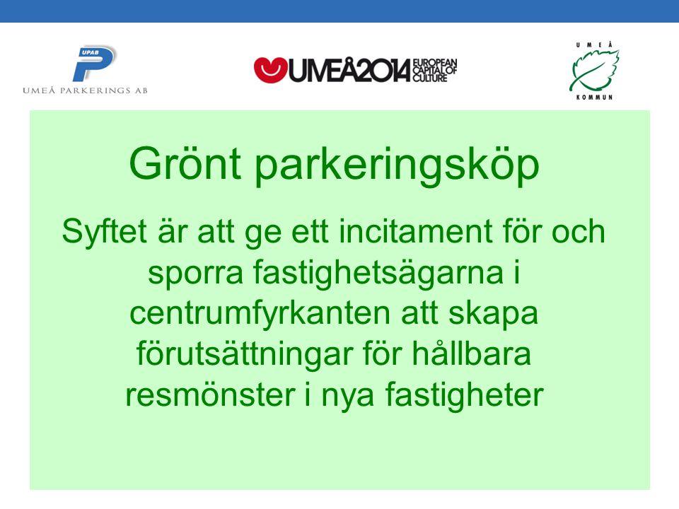 Svepark 2012-05-24 Håkan Gustafsson Umeå Parkerings AB Grönt parkeringsköp Syftet är att ge ett incitament för och sporra fastighetsägarna i centrumfyrkanten att skapa förutsättningar för hållbara resmönster i nya fastigheter