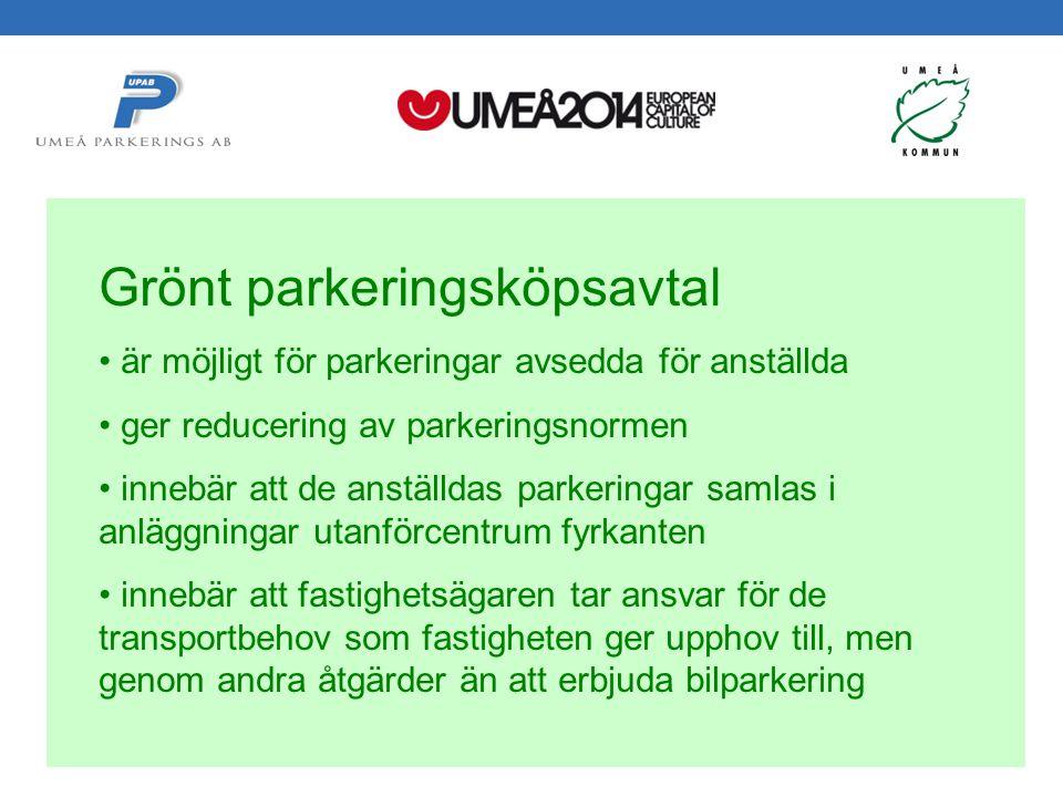 Svepark 2012-05-24 Håkan Gustafsson Umeå Parkerings AB Grönt parkeringsköpsavtal är möjligt för parkeringar avsedda för anställda ger reducering av parkeringsnormen innebär att de anställdas parkeringar samlas i anläggningar utanförcentrum fyrkanten innebär att fastighetsägaren tar ansvar för de transportbehov som fastigheten ger upphov till, men genom andra åtgärder än att erbjuda bilparkering
