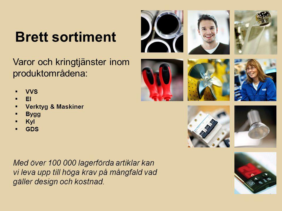 9 Brett sortiment  VVS  El  Verktyg & Maskiner  Bygg  Kyl  GDS Varor och kringtjänster inom produktområdena: Med över 100 000 lagerförda artiklar kan vi leva upp till höga krav på mångfald vad gäller design och kostnad.