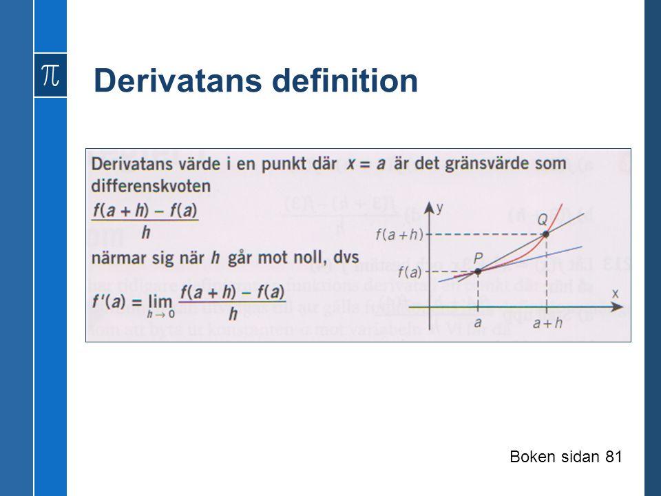 Derivatans definition Boken sidan 81