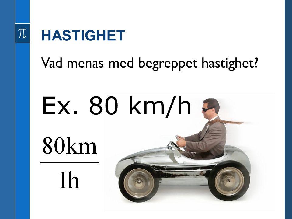 HASTIGHET Vad menas med begreppet hastighet? Ex. 80 km/h