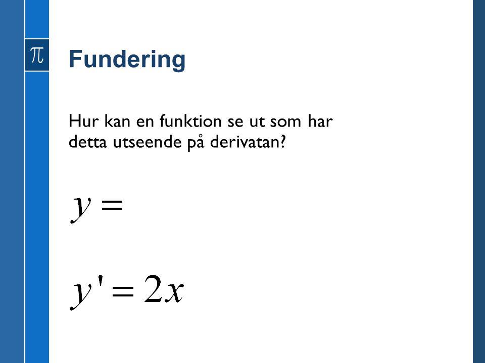 Fundering Hur kan en funktion se ut som har detta utseende på derivatan?