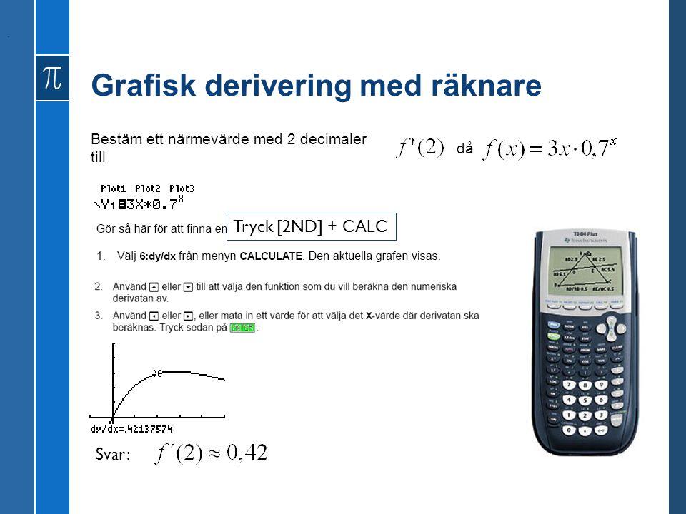 Grafisk derivering med räknare Bestäm ett närmevärde med 2 decimaler till då. Svar: Tryck [2ND] + CALC