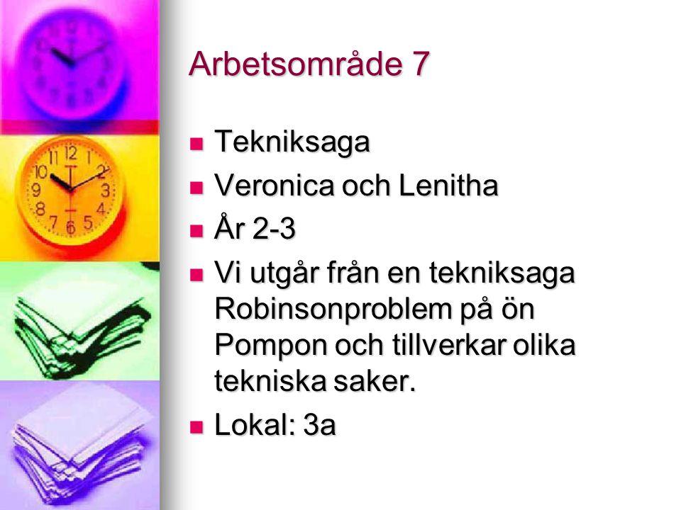Arbetsområde 7 Tekniksaga Tekniksaga Veronica och Lenitha Veronica och Lenitha År 2-3 År 2-3 Vi utgår från en tekniksaga Robinsonproblem på ön Pompon och tillverkar olika tekniska saker.