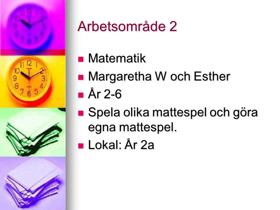 Arbetsområde 2 Matematik Matematik Margaretha W och Esther Margaretha W och Esther År 2-6 År 2-6 Spela olika mattespel och göra egna mattespel. Spela