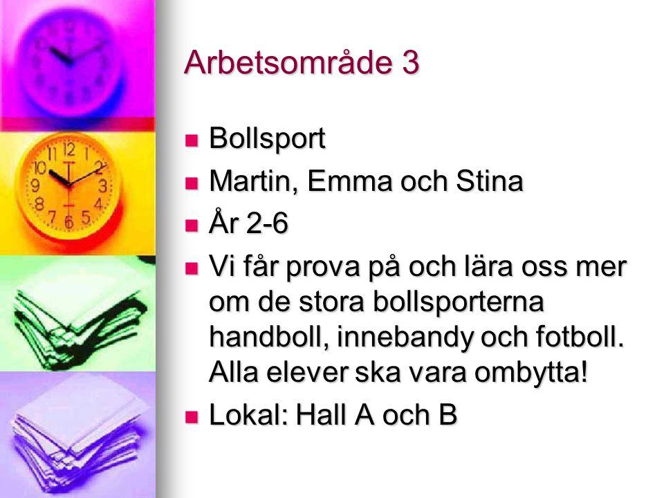 Arbetsområde 3 Bollsport Bollsport Martin, Emma och Stina Martin, Emma och Stina År 2-6 År 2-6 Vi får prova på och lära oss mer om de stora bollsporterna handboll, innebandy och fotboll.
