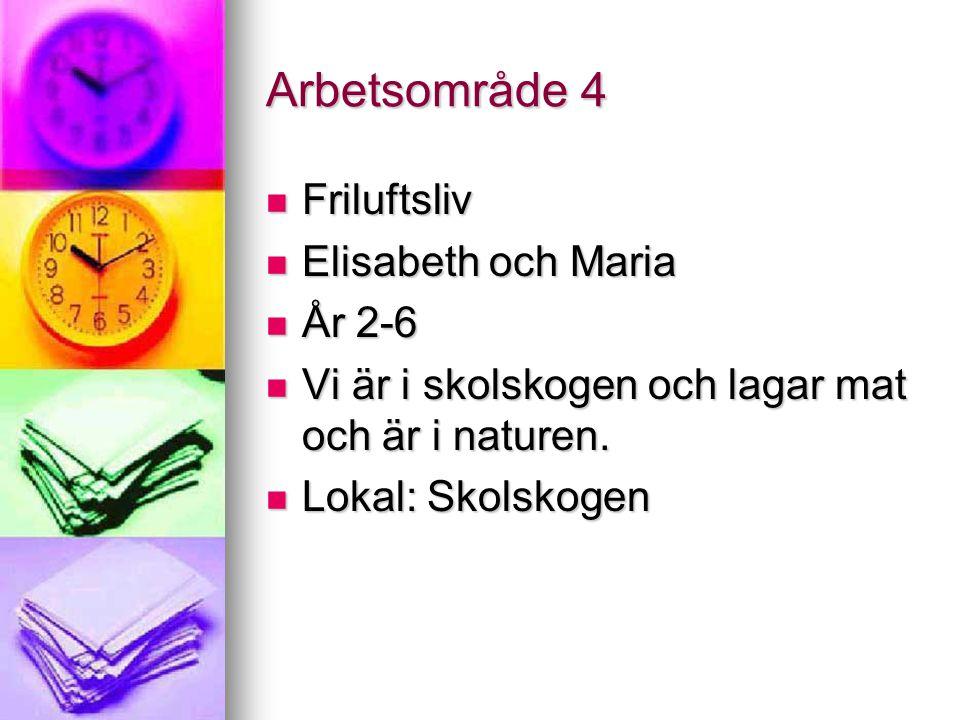 Arbetsområde 4 Friluftsliv Friluftsliv Elisabeth och Maria Elisabeth och Maria År 2-6 År 2-6 Vi är i skolskogen och lagar mat och är i naturen. Vi är