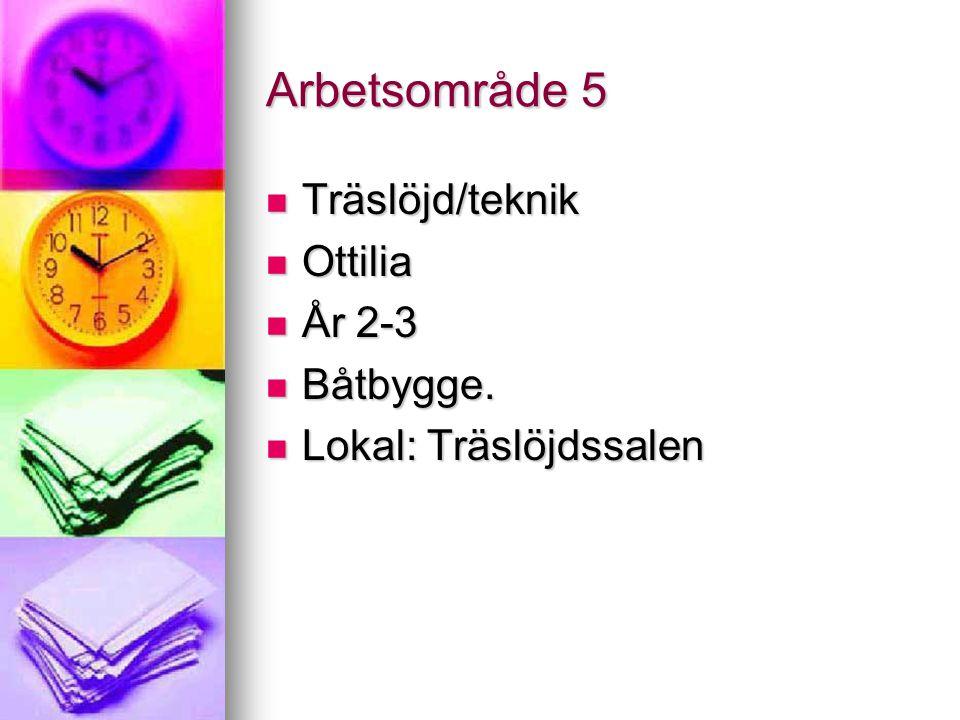 Arbetsområde 5 Träslöjd/teknik Träslöjd/teknik Ottilia Ottilia År 2-3 År 2-3 Båtbygge. Båtbygge. Lokal: Träslöjdssalen Lokal: Träslöjdssalen