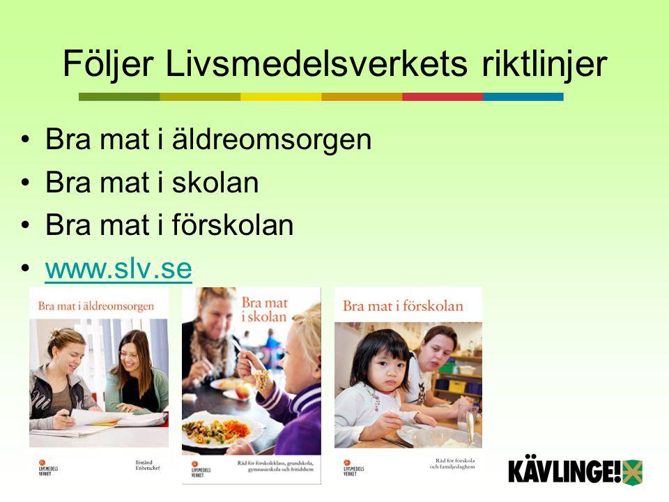 Följer Livsmedelsverkets riktlinjer Bra mat i äldreomsorgen Bra mat i skolan Bra mat i förskolan www.slv.se