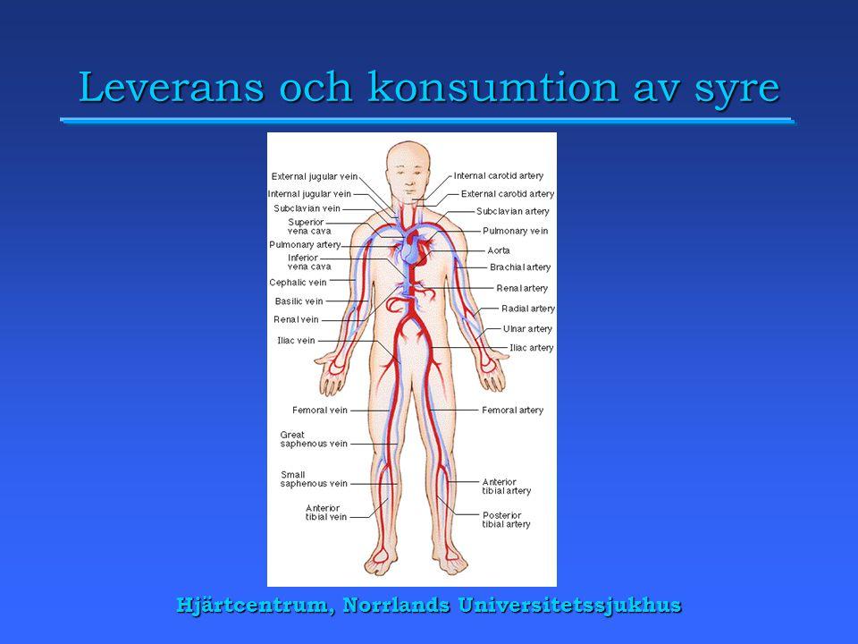 Hjärtcentrum, Norrlands Universitetssjukhus Leverans och konsumtion av syre
