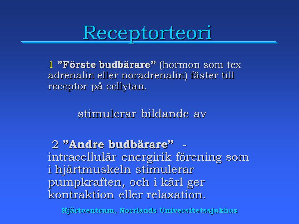 Hjärtcentrum, Norrlands Universitetssjukhus Receptorteori 1 Förste budbärare (hormon som tex adrenalin eller noradrenalin) fäster till receptor på cellytan.
