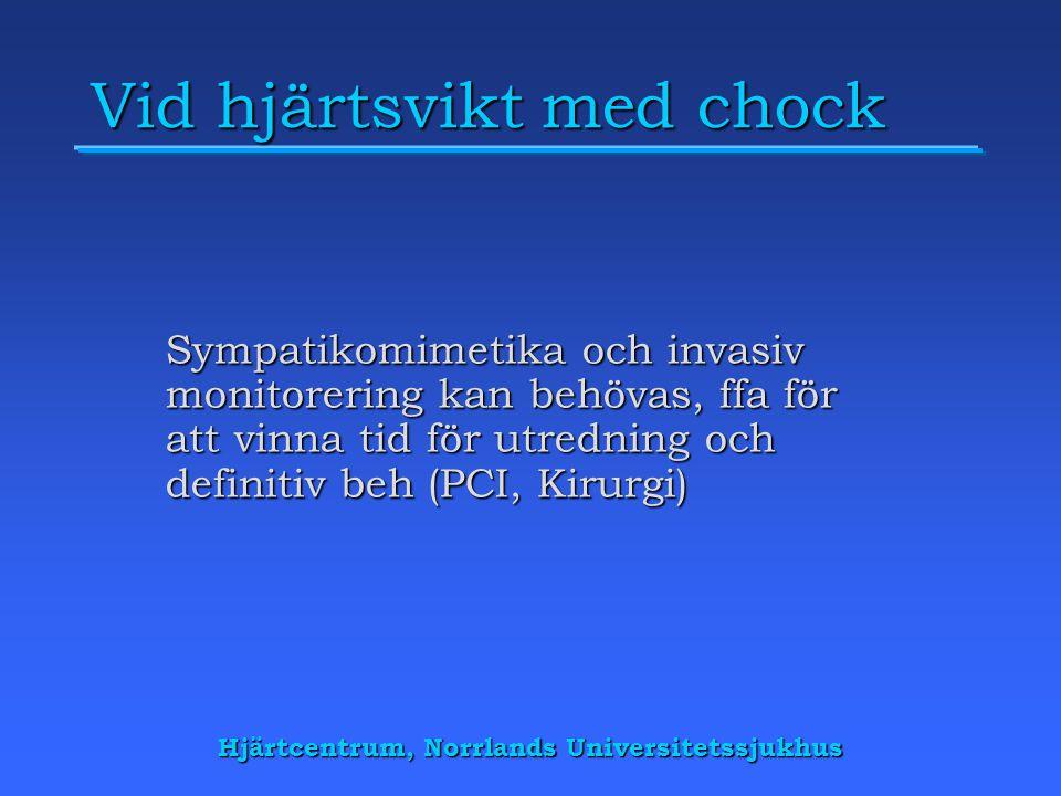 Hjärtcentrum, Norrlands Universitetssjukhus Vid hjärtsvikt med chock Sympatikomimetika och invasiv monitorering kan behövas, ffa för att vinna tid för utredning och definitiv beh (PCI, Kirurgi)
