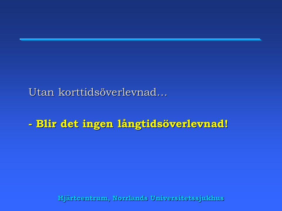 Hjärtcentrum, Norrlands Universitetssjukhus Utan korttidsöverlevnad… - Blir det ingen långtidsöverlevnad!