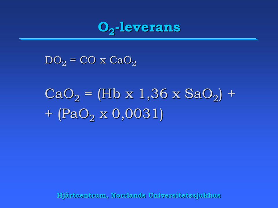 Hjärtcentrum, Norrlands Universitetssjukhus O 2 -leverans kontra O 2 -förbrukning DO 2 = CO x CaO 2 CaO 2 = (Hb x 1,36 x SaO 2 ) + (PaO 2 x 0,0031) VO 2 = CO x (CaO 2 - CvO 2 )