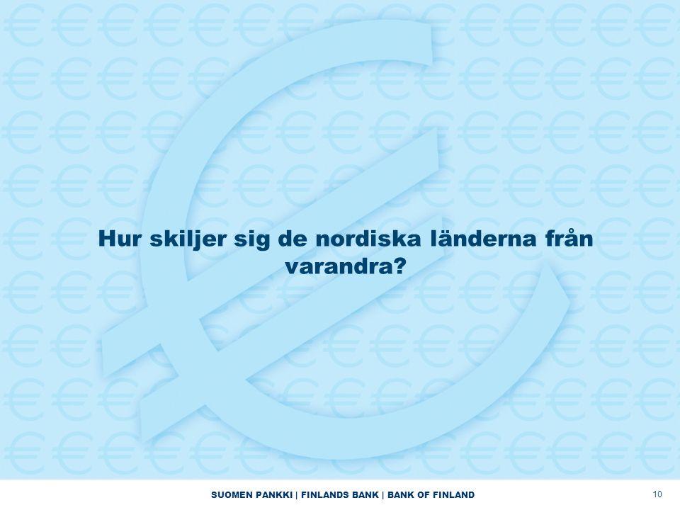 SUOMEN PANKKI | FINLANDS BANK | BANK OF FINLAND 10 Hur skiljer sig de nordiska länderna från varandra