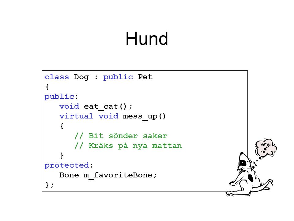 Hund class Dog : public Pet { public: void eat_cat(); virtual void mess_up() { // Bit sönder saker // Kräks på nya mattan } protected: Bone m_favoriteBone; };