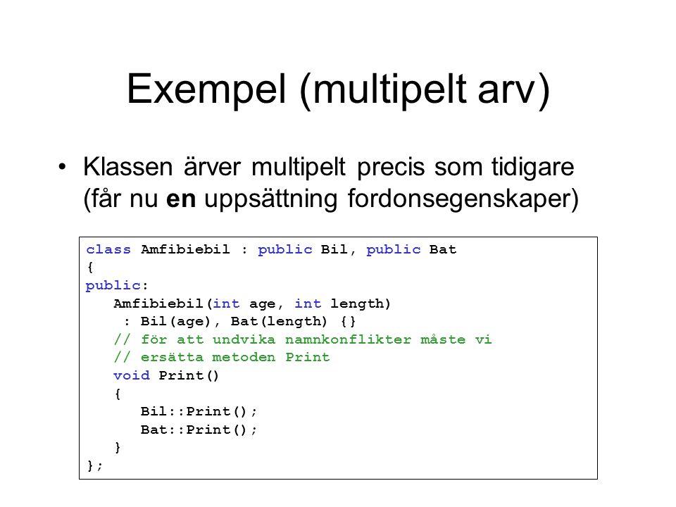 Exempel (multipelt arv) class Amfibiebil : public Bil, public Bat { public: Amfibiebil(int age, int length) : Bil(age), Bat(length) {} // för att undvika namnkonflikter måste vi // ersätta metoden Print void Print() { Bil::Print(); Bat::Print(); } }; Klassen ärver multipelt precis som tidigare (får nu en uppsättning fordonsegenskaper)