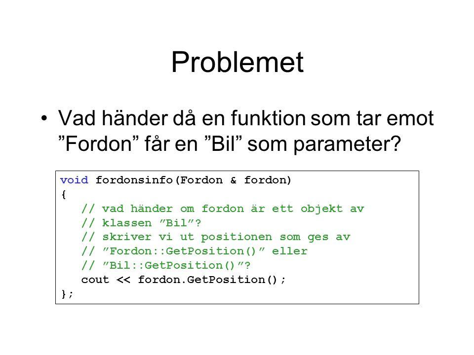 """Problemet Vad händer då en funktion som tar emot """"Fordon"""" får en """"Bil"""" som parameter? void fordonsinfo(Fordon & fordon) { // vad händer om fordon är e"""