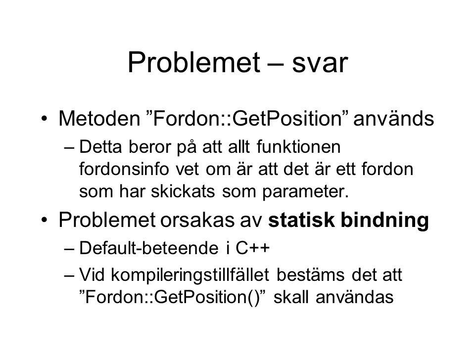 Problemet – svar Metoden Fordon::GetPosition används –Detta beror på att allt funktionen fordonsinfo vet om är att det är ett fordon som har skickats som parameter.