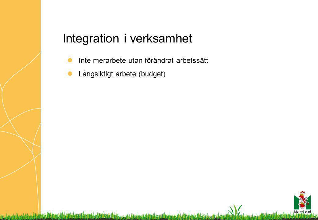 Integration i verksamhet Inte merarbete utan förändrat arbetssätt Långsiktigt arbete (budget)