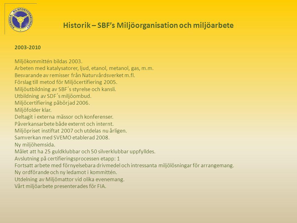 Historik – SBF's Miljöorganisation och miljöarbete 2003-2010 Miljökommittén bildas 2003.