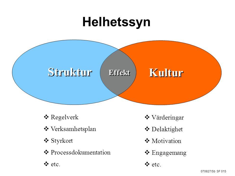 070827/Sb SF 015 Helhetssyn Struktur Effekt Kultur  Regelverk  Verksamhetsplan  Styrkort  Processdokumentation  etc.  Värderingar  Delaktighet