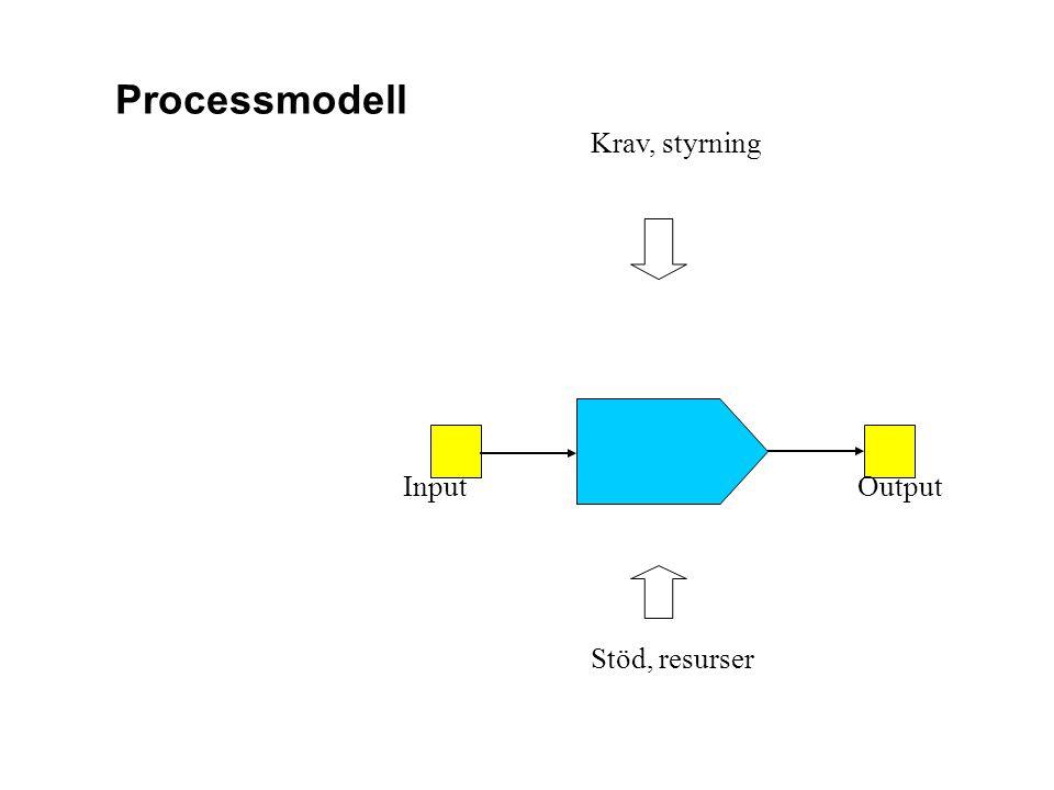 Processmodell Krav, styrning InputOutput Stöd, resurser