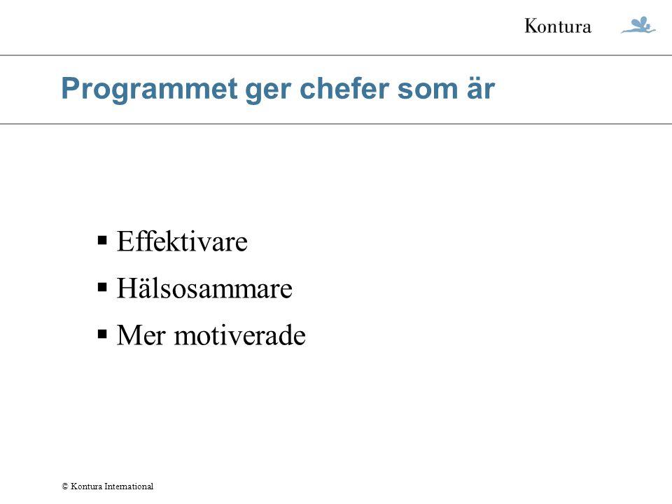 Programmet ger chefer som är  Effektivare  Hälsosammare  Mer motiverade © Kontura International