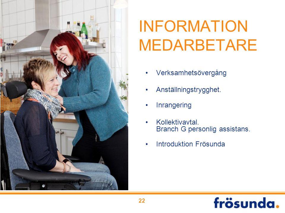INFORMATION MEDARBETARE Verksamhetsövergång Anställningstrygghet. Inrangering Kollektivavtal. Branch G personlig assistans. Introduktion Frösunda 22