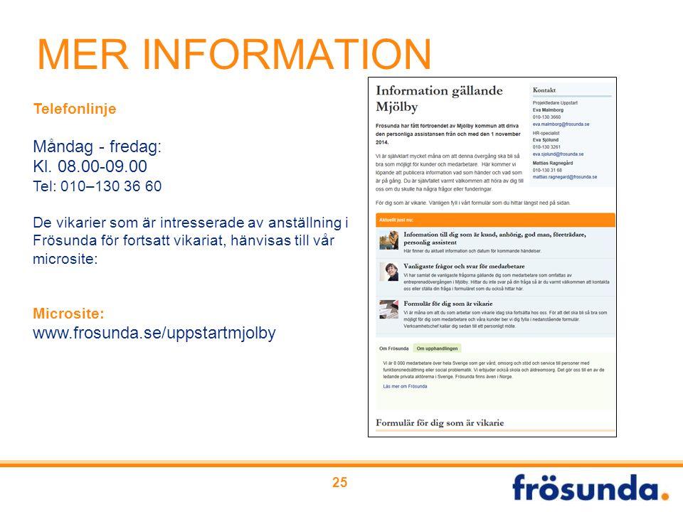 25 MER INFORMATION Telefonlinje Måndag - fredag: Kl. 08.00-09.00 Tel: 010–130 36 60 De vikarier som är intresserade av anställning i Frösunda för fort