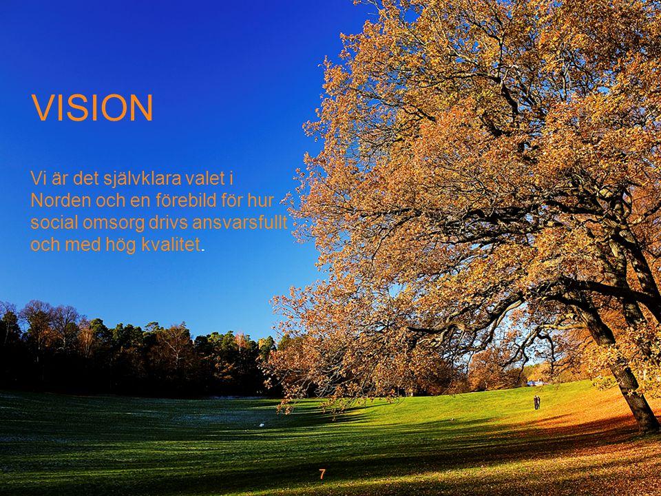 7 VISION Vi är det självklara valet i Norden och en förebild för hur social omsorg drivs ansvarsfullt och med hög kvalitet.
