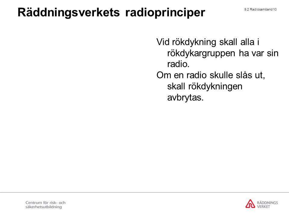 9.2 Radiosamband 10 Vid rökdykning skall alla i rökdykargruppen ha var sin radio. Om en radio skulle slås ut, skall rökdykningen avbrytas. Räddningsve