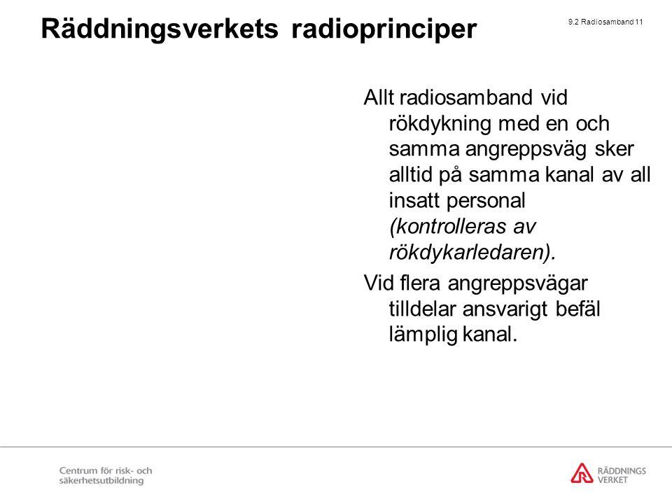 9.2 Radiosamband 11 Allt radiosamband vid rökdykning med en och samma angreppsväg sker alltid på samma kanal av all insatt personal (kontrolleras av r