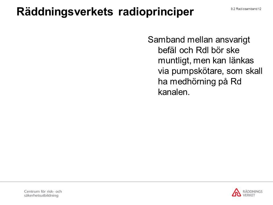 9.2 Radiosamband 12 Samband mellan ansvarigt befäl och Rdl bör ske muntligt, men kan länkas via pumpskötare, som skall ha medhörning på Rd kanalen. Rä