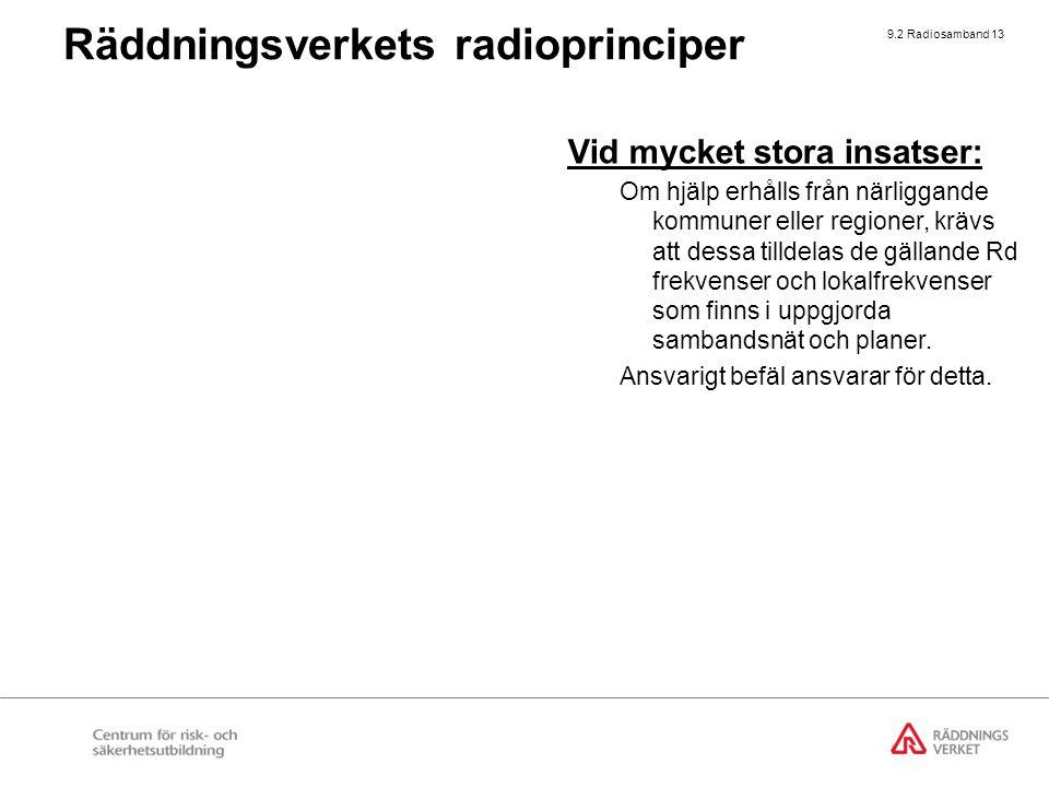9.2 Radiosamband 13 Räddningsverkets radioprinciper Vid mycket stora insatser: Om hjälp erhålls från närliggande kommuner eller regioner, krävs att de