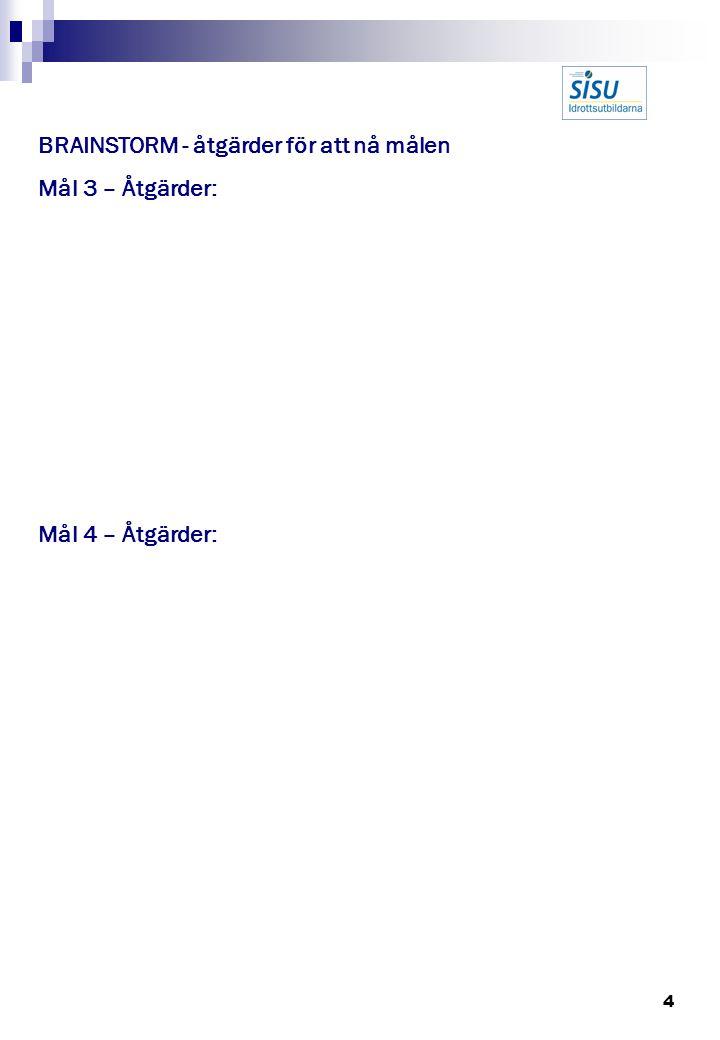 4 BRAINSTORM - åtgärder för att nå målen Mål 3 – Åtgärder: Mål 4 – Åtgärder: