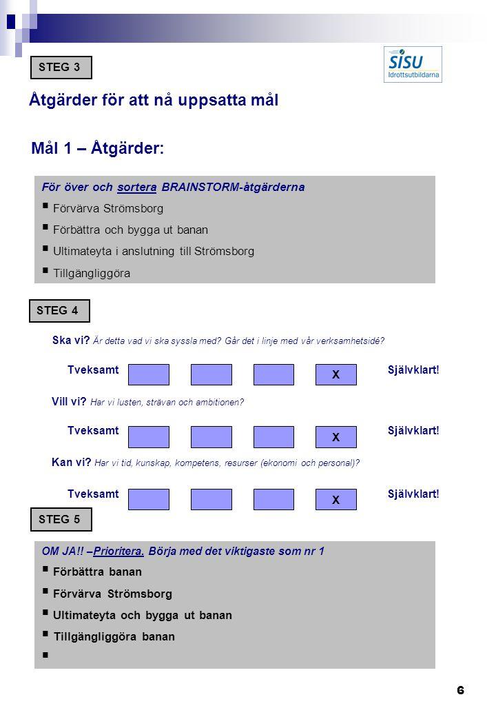 6 Åtgärder för att nå uppsatta mål Mål 1 – Åtgärder: För över och sortera BRAINSTORM-åtgärderna  Förvärva Strömsborg  Förbättra och bygga ut banan  Ultimateyta i anslutning till Strömsborg  Tillgängliggöra Ska vi.
