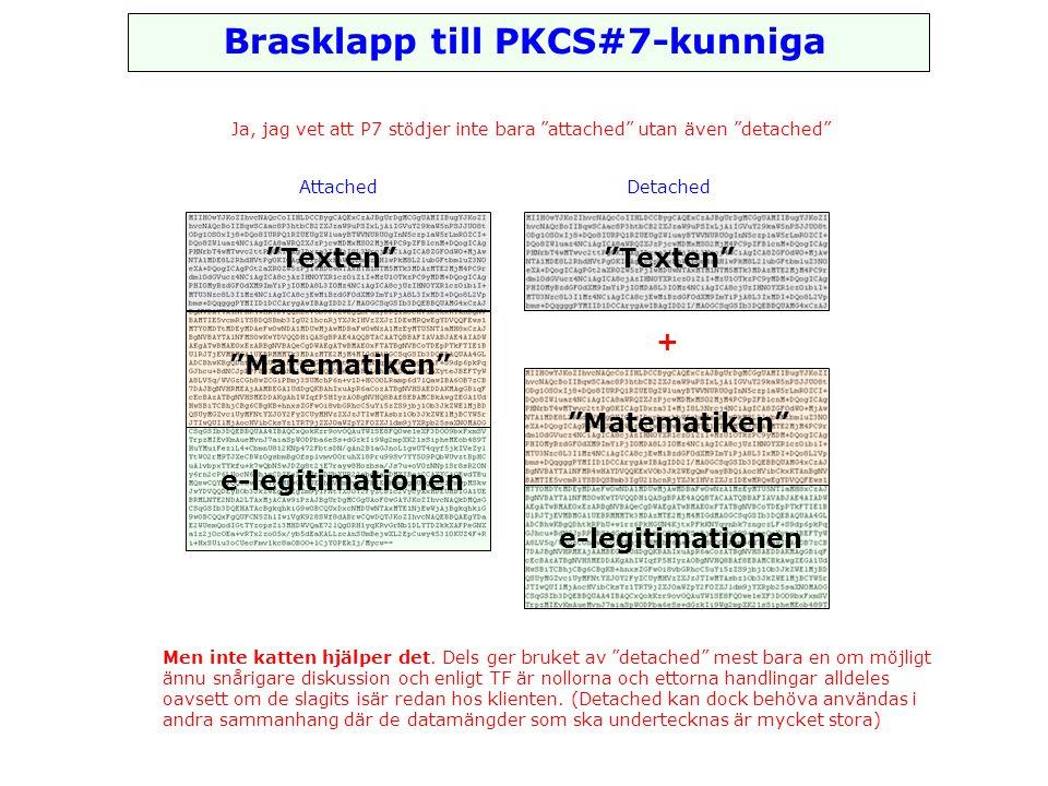 Brasklapp till PKCS#7-kunniga Ja, jag vet att P7 stödjer inte bara attached utan även detached Matematiken e-legitimationen Texten AttachedDetached Matematiken e-legitimationen Texten + Men inte katten hjälper det.