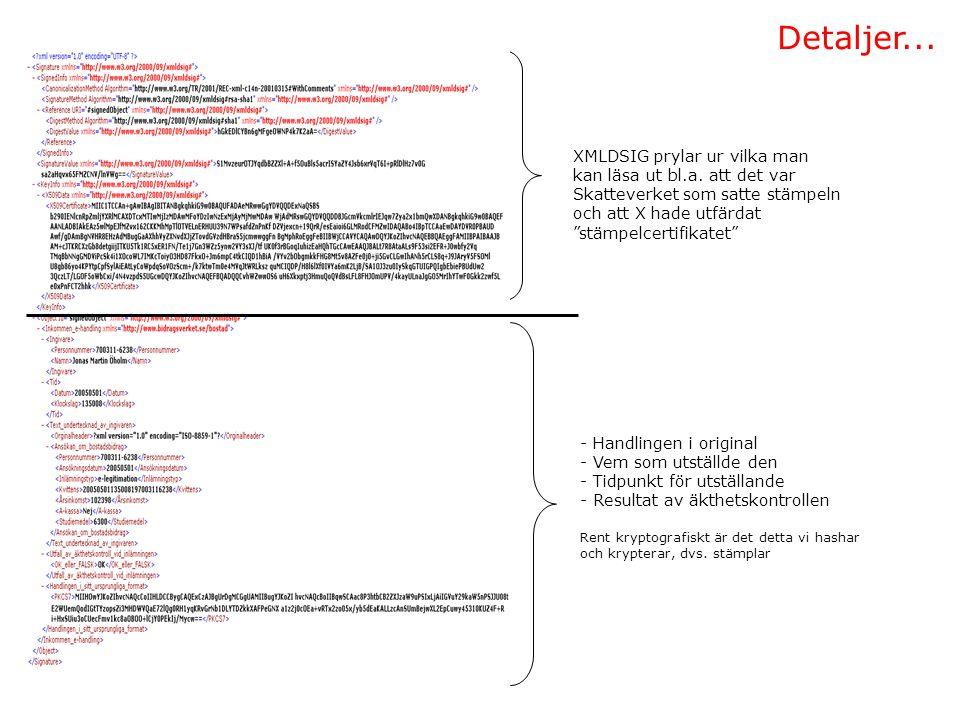 Detaljer... - Handlingen i original - Vem som utställde den - Tidpunkt för utställande - Resultat av äkthetskontrollen Rent kryptografiskt är det dett