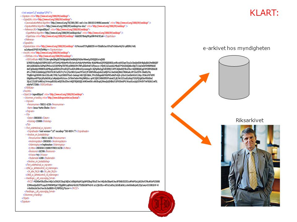 KLART: e-arkivet hos myndigheten Riksarkivet