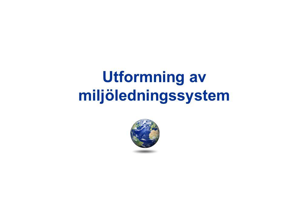Principskiss för miljöledningssystem miljöutredning miljöpolicy Miljömål Miljöprogram Införande/genomförande Miljörevision och uppföljning Ledningens genomgång Ständig förbättring