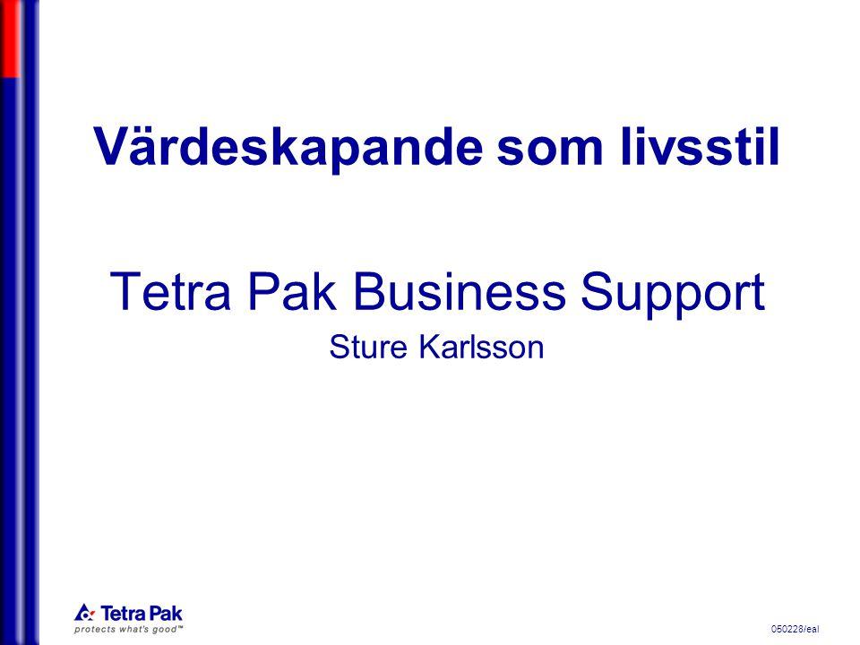 050228/eal Tetra Pak Business Supports vägledare Nr 1 (6) Officiell version: Vi har bara ett VÄRDE om vi skapar VÄRDE Inofficiell version: Om du inte skapar värde är du värdelös