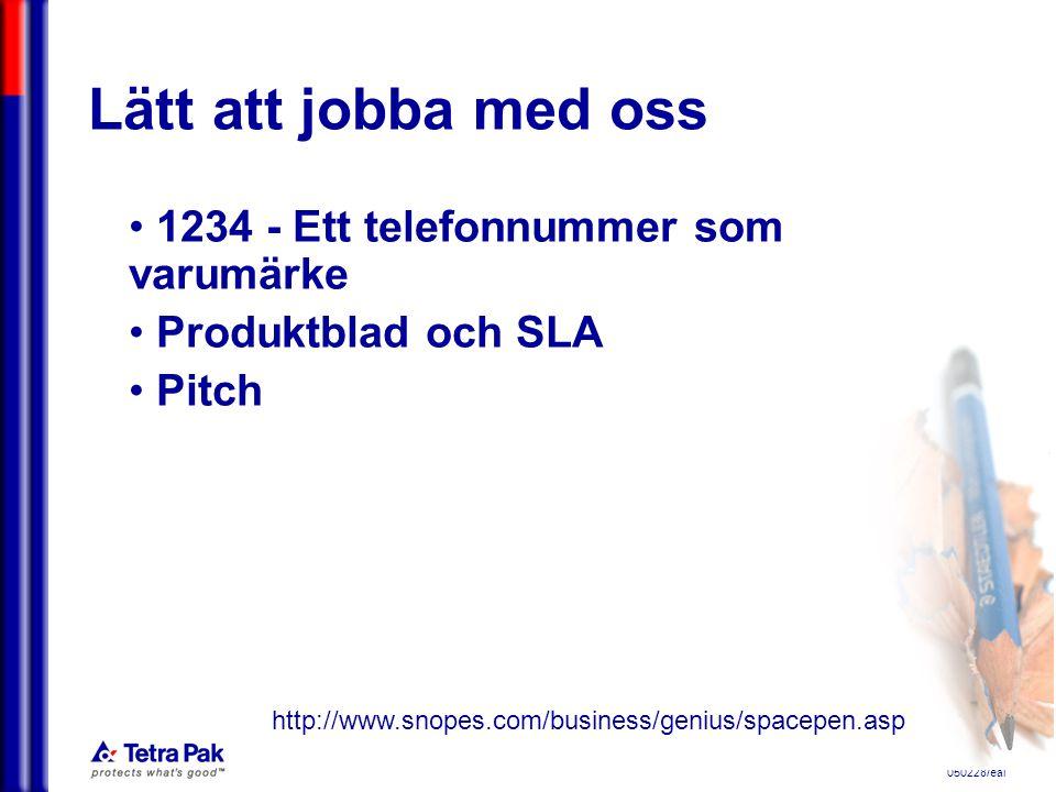 050228/eal Lätt att jobba med oss 1234 - Ett telefonnummer som varumärke Produktblad och SLA Pitch http://www.snopes.com/business/genius/spacepen.asp