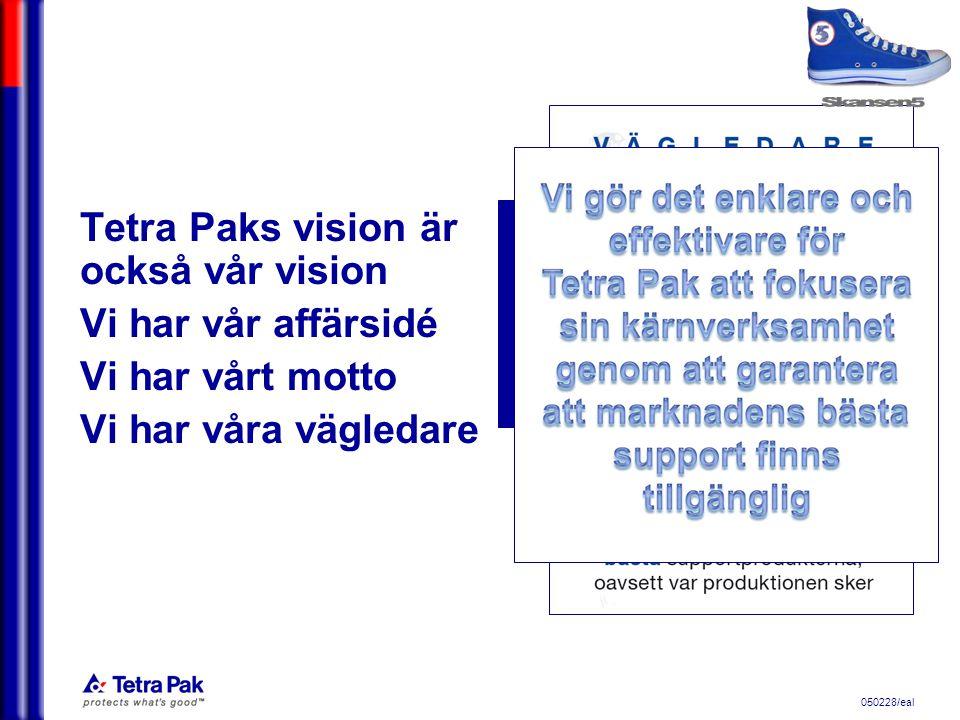 050228/eal We commit to making food safe and available, everywhere Tetra Paks vision är också vår vision Vi har vår affärsidé Vi har vårt motto Vi har våra vägledare