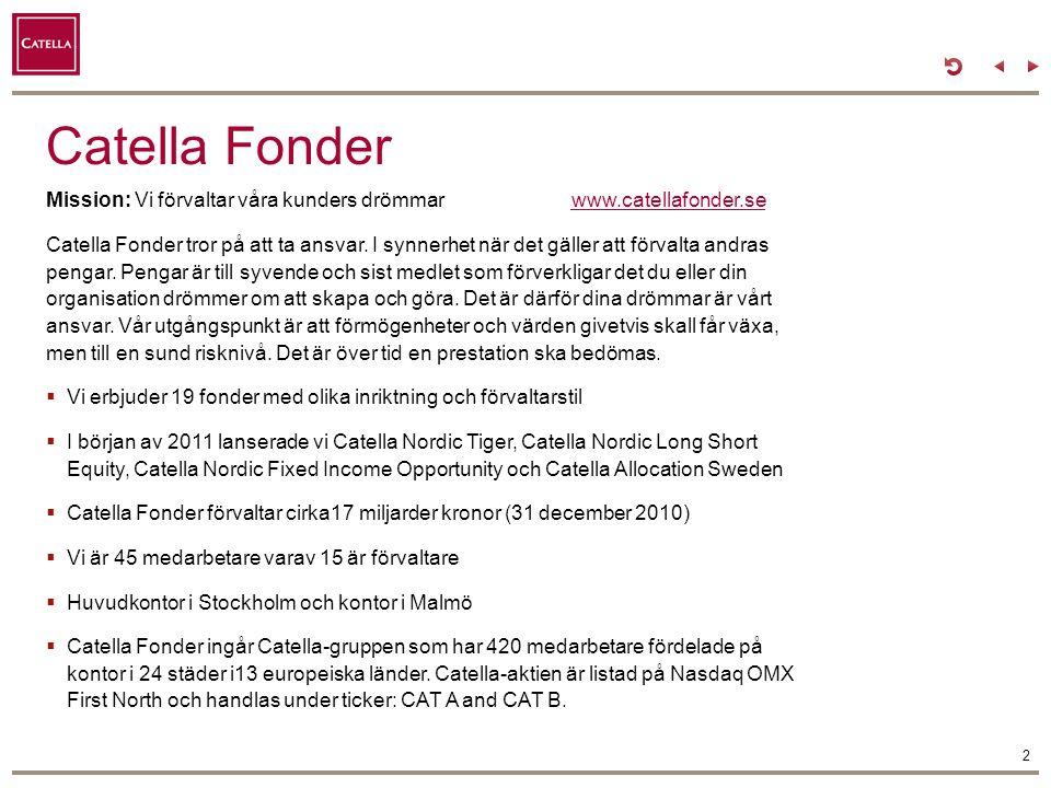 Catella Fonder Mission: Vi förvaltar våra kunders drömmarwww.catellafonder.sewww.catellafonder.se Catella Fonder tror på att ta ansvar. I synnerhet nä