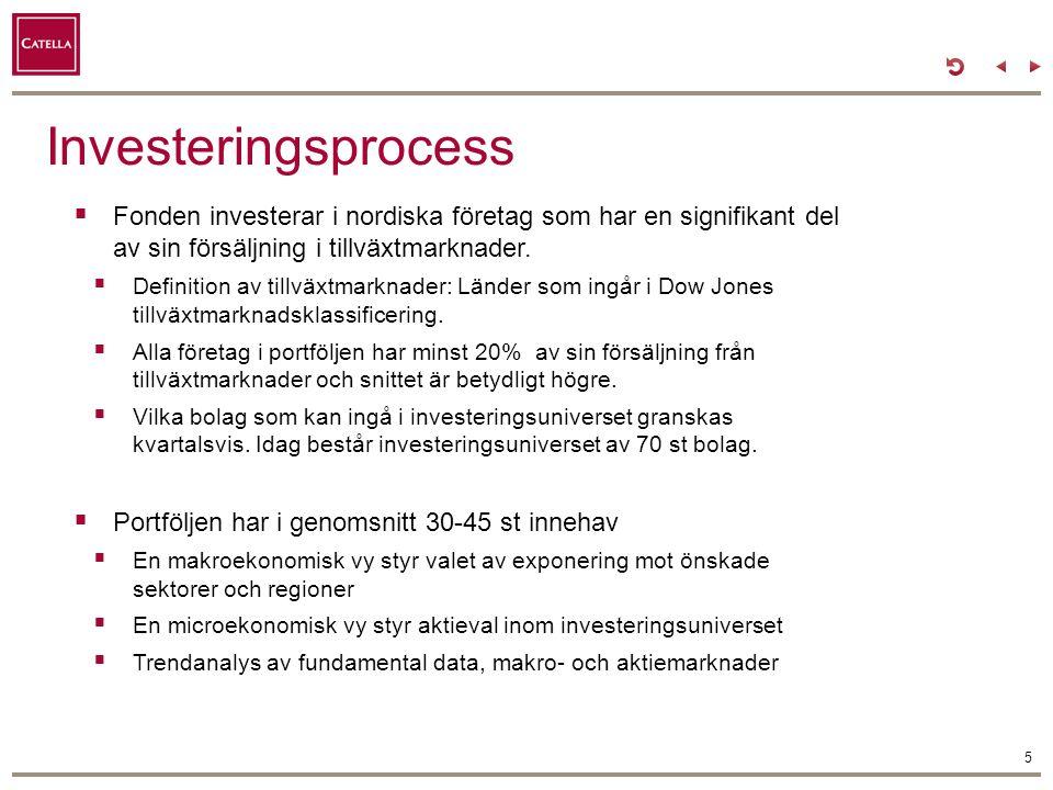 Investeringsprocess 5  Fonden investerar i nordiska företag som har en signifikant del av sin försäljning i tillväxtmarknader.  Definition av tillvä