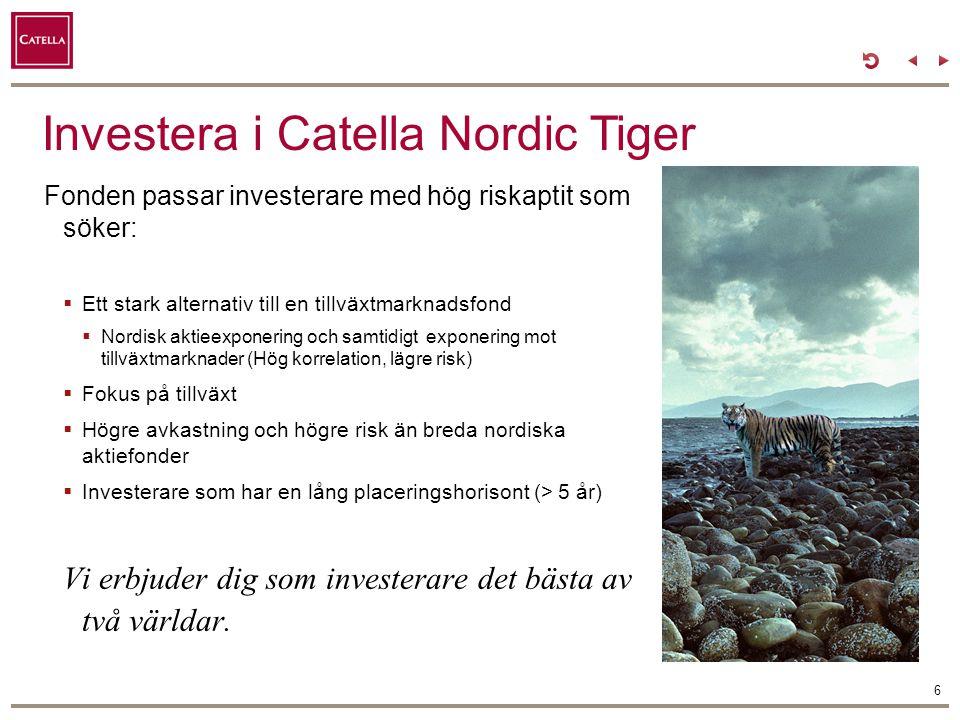 Utveckling av Tiger index jämfört med tillväxtmarknadsindex, SIX och VINX Nordic 7 Tiger Index Tillväxtmarknads-index (*MSCI Emerging Markets SEK) VINX Nordic (Norden Index) SIXRX (Sverige Index) Catella Nordic Tiger Risk (Volatilitet) sedan 2003-04-10Korrelation Tiger Index 19,21% Tillväxtmarknadsindex (*MSCI Emerging Markets SEK) 31,20%0,81 Catellas riskavdelning har räknat på den historiska portföljutvecklingen för Catella Nordic Tiger (Tiger Index) för perioden 20030411-20101219 genom att marknadsvikta de aktier som ingår in Catella Nordic Tigers investeringsunivers.