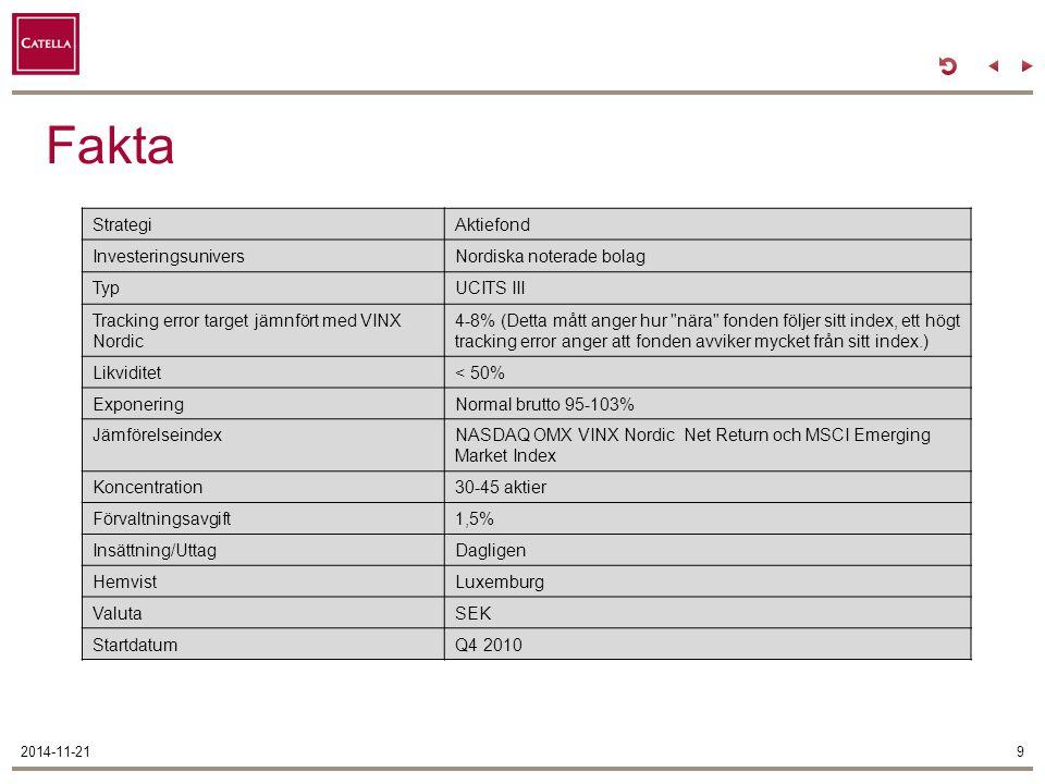 Fakta 2014-11-219 StrategiAktiefond InvesteringsuniversNordiska noterade bolag TypUCITS III Tracking error target jämnfört med VINX Nordic 4-8% (Detta