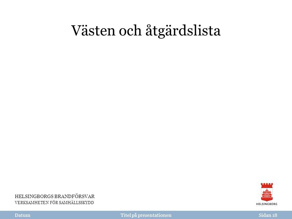 HELSINGBORGS BRANDFÖRSVAR VERKSAMHETEN FÖR SAMHÄLLSSKYDD Titel på presentationen Västen och åtgärdslista DatumSidan 18